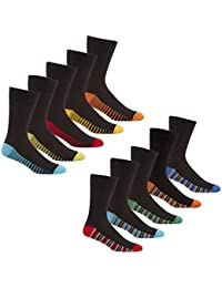 Pierre Roche Mens Coloured Heel & Toe Striped Socks 6-11