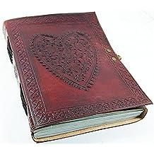 Leder Zeitschriften Große Vintage Herz geprägt Leder Notizbuch Tagebuch (Handmade Papier)–Coptic Bound mit Schloss Schließung