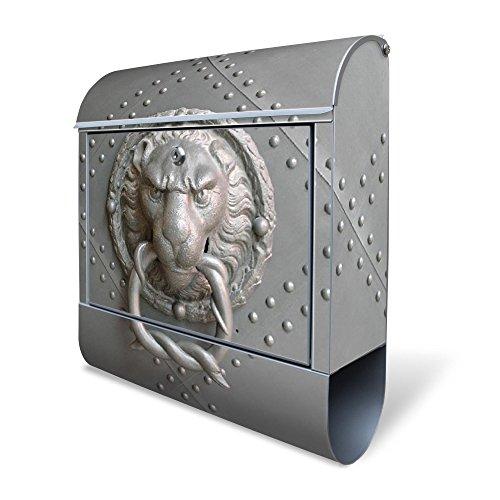 BANJADO Design Briefkasten mit Zeitungsfach, 2 Schlüssel, A4 Einwurf, silber pulverbeschichtet, mit Motiv Eisentor
