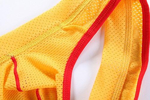 USex Sense Herren String Unterwäsche Männer Jockstrap Unterhose (Pack of 2) Schwarz+Gelb