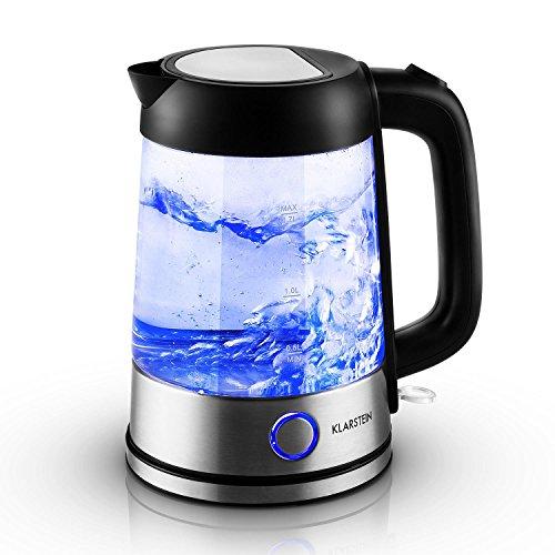 Klarstein Tiefblau Wasserkocher Wasserkessel (2200 Watt, 1,7 Liter, blaue LED-Beleuchtung, Cool-Touch-Griff) schwarz-silber
