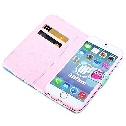 """deinPhone Étui pour iPhone 6(4,7"""") Bleu/multicolore/motif hiboux"""