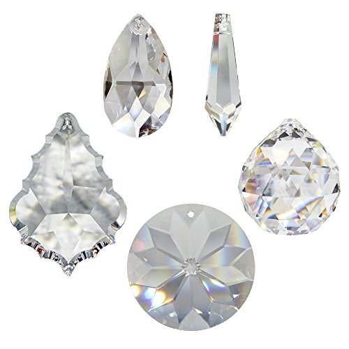 Kristall Sonnenfänger 5er Set zum aufhängen als Fensterschmuck und Raumpendel Waldorf Feng Shui Regenbogen-kristalle Kristallglas 30% Bleikristall Mobiles