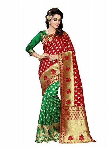 Vatsla Enterprise Women's Banarasi Silk Saree (VBANARASI113RED_RED)