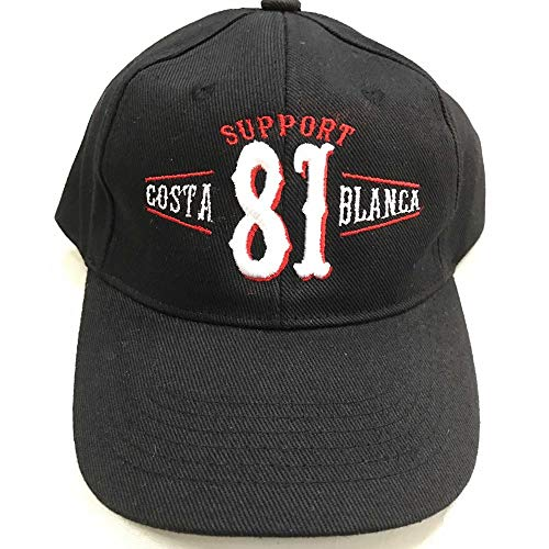 Hells Angels WorldWide Support Store/Big Red Machine World - Hells Angels  Cap Support 81 Costa White Spain Embroidery Baseball Cap Black