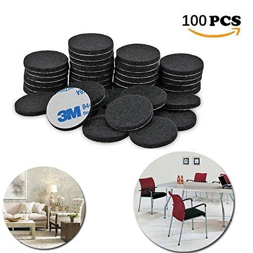 Möbel Pads, 100 Stücke Runde Dicke selbstklebende Faser Filzen Heavy Duty Filz Pads für Möbel und Boden (Schwarz)