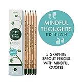 Sprout crayons à planter avec citations | boîte de 5 crayons graphite | en bois naturel bio sans plomb