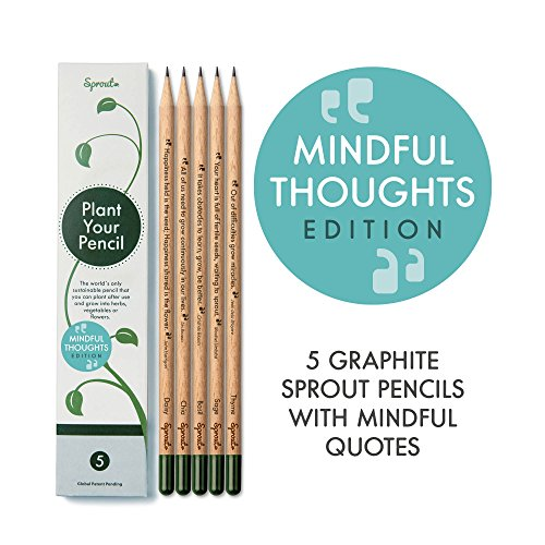 Sprout lápices plantables - Mindful edition | Pack de 5 lápices de grafito de madera natural | producto ecológico sin plomo