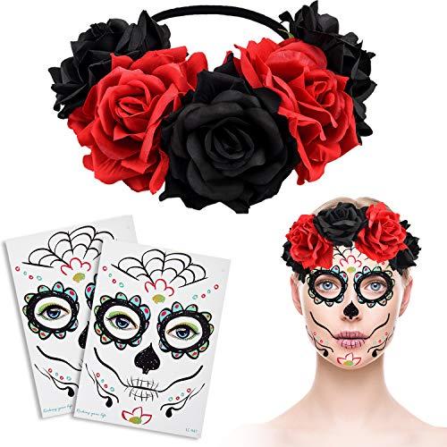 Blulu tatuaggi temporanei per il viso di halloween tatuaggi di zucchero e fascia per capelli con ghirlanda di capelli di fiori di rosa per feste in maschera per halloween (set di stili 6)