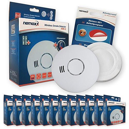 12x Nemaxx HW-2 Funkrauchmelder Rauchmelder Hitzemelder mit kombiniertem Rauch- und Thermosensor...