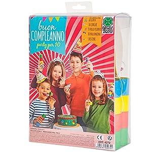 Carnival Toys - Cotillón cumpleaños: 10 gorros, 5 serpentinas, 1 festón, 10 matasuegras, 20 globos, en caja de pvc, multicolor (4272)