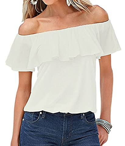 Women's Off Shoulder Boho Shirt Loose Blouses Casual Crop Tops (M/UK 8, White)