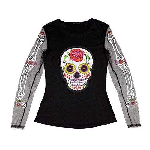 Amakando La Catrina Kostüm Sugar Skull Shirt Dia de los Muertos Damenkostüm Halloween Outfit Damen Halloweenkostüm Frauen Tag der Toten (Tag Der Toten Frauen Kostüm)