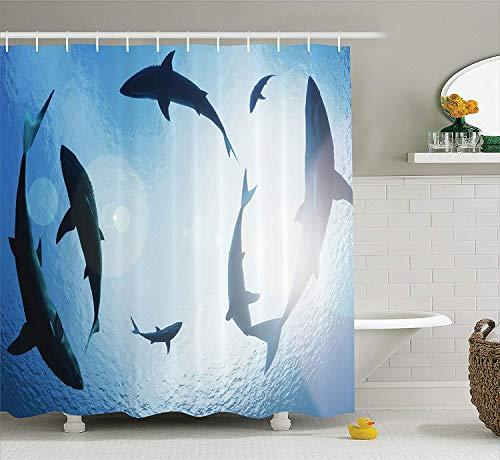 Dekor Sammlung Haischule Kreisen von Oben Aggressive Kreatur Furchterregende Bedrohung Fotografie DruckBad Duschvorhang Blau ()