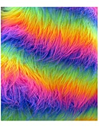 "1 Meter 60"" Wide Deluxe Fur Fabric Rainbow stripe Fancy Dress Material"
