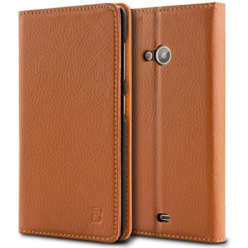 Microsoft Lumia 535 Tasche, BEZ® Microsoft Lumia 535 Hülle, Schutzhülle Handyhülle aus Kunstleder Flip Cover Taschenhülle mit Kreditkartenhaltern, Standfunktion, Geldbeutel, Magnetverschluss - Orange