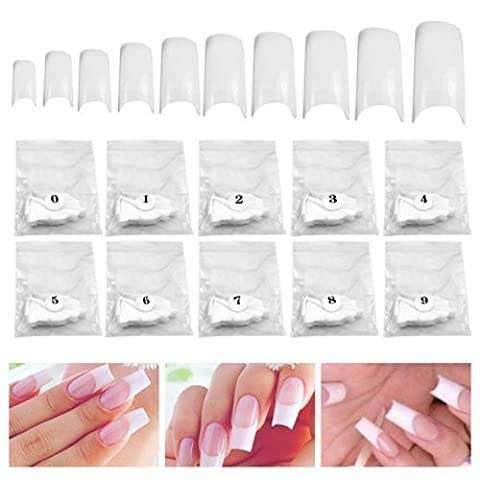 TRIXES 500 Faux ongles / tips french blancs pour Nail Art, acrylique, gel et maquillage