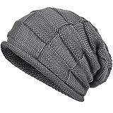 VECRY Herren Baumwolle Mütze Strickmützen Slouch Beanie Schädel Cap Winter Sommer Hüte (816-Grau)