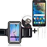K-S-Trade Top Set für Alcatel One Touch Pop 4S Neopren Jogging Armband Sportarmband Oberarmband für Alcatel One Touch Pop 4S Schwarz mit Reflektor Streifen + Ohrstöpsel. Fitness Lauf Armband
