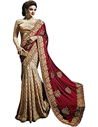 Helix_Enterprise Women's Silk Georgette Thread Work Saree (HEFA-1579_Cream & Maroon)