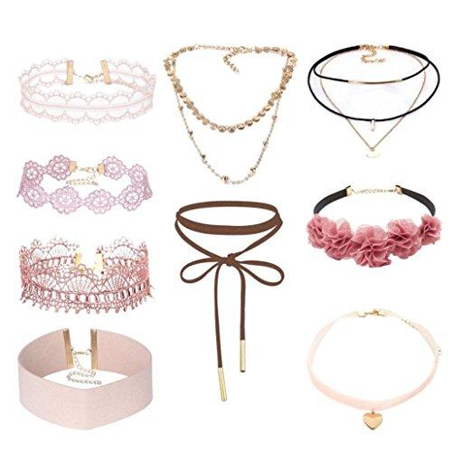 dchen Mode Elastische Choker Halskette Set Tattoo Spitze Verstellbare Kragen (9 pcs) (Top Halloween Kostüme Für Frauen 2017)