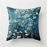 Lesif Van Gogh Almond Blossoms Dark Teal Throw Pillow Cushion Cover 18x18