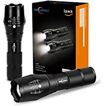 [2 PACCHI] 5 Modalità di torcia tattica LED, alto lume, Zoomabile, resistente all'acqua, palmare - migliore per campeggio, escursionismo, Camminare con il Cane