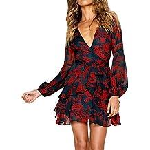 Simple-Fashion Primavera e Autunno Donne Vestiti con Bende Sexy V Collo  Manica Lunga Vestito 556043c62cc