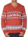 Tipsy Elves Sueter navideno friki Conga de renos. Cuello de pico. Color rojo Size XXL