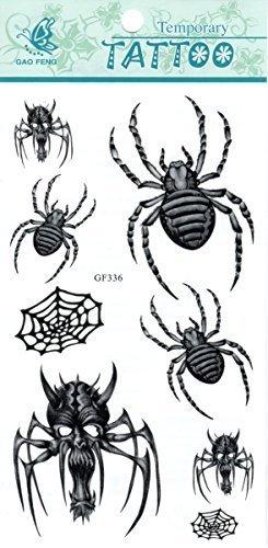 Spinne Skorpion Stammes Web Schädel Rosen Blumen Cool Sexy Abwaschbare Tattoos (Schädel, Stamm)