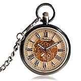 Vintage-Taschenuhr mit offenem Uhrwerk und skelettiertem Zifferblatt, automatische Mechanik, mit römischen Ziffern, mit Kette, für Männer und Frauen