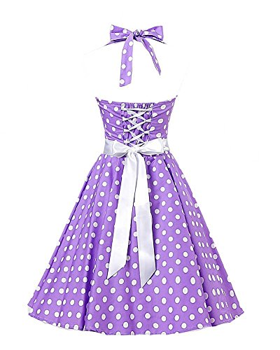 VKStar® Retro 50er Neckholder Rockabilly Kleid Damen Rückenfrei Cocktailkleid Audrey Hepburn Swing Kleid Lila weiße Punkte