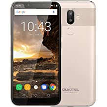 Oukitel U18 Smartphone 4G, 5.85 Pollici HD Notch Schermo (Proporzione 21: 9)Android 7.0 Telefono Cellulari, MTK6750T Octa Core 1.5GHz, 4GB RAM + 64GB ROM, 16MP+5MP +13MP Camera,Smartphone Dual Sim,Fingerprint Sensor, Face Unlock Wifi,GPS,OTG,OTA Cellulare - Oro