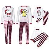 Wawer Weihnachten Zweiteiliger Schlafanzug, Mama & Papa Ich Kinder Mädchen Jungen Nachtwäsche Set Bier Hüte Tops + Streifen Hosen Familie Set Kleidung (XL, Mommy-Damen)