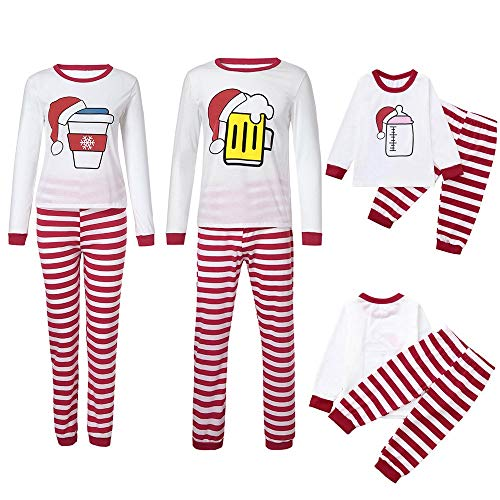 Rosennie Weihnachten Mommy Daddy Kind Outfit Set Pyjama Familie Set Kinder Jungen Mädchen Striped Milk Family Set Kleidung Winter Langarm Schlafanzug Nachtwäsche Top Hosen Sets(Weiß A,S)