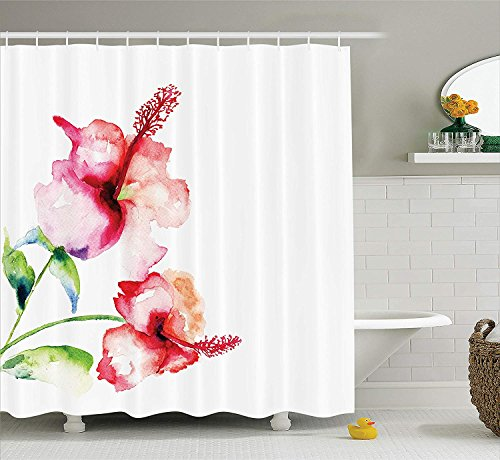 JIEKEIO Watercolor Flower Decor Shower Curtain Set, Hibiscus Flowers on Plain Background in Pastel Colors Nature Home Decor, Bathroom Accessories, 60 * 72inch Extralong, White Red Green -
