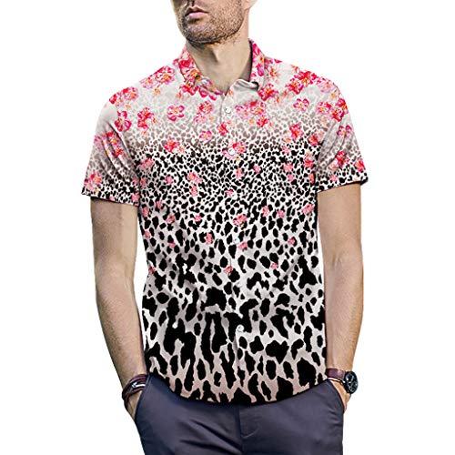 abb67c8bdc6 Malloom Mode Homme Classique Chemises à Manches Courtes 3D Imprimé Bouton  vers Le Bas Été T-Shirts M-XXL