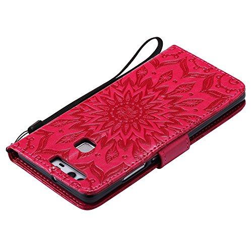 Für Huawei P9 Fall, Prägen Sonnenblume Magnetische Muster Premium Weiche PU Leder Brieftasche Stand Case Cover mit Lanyard & Halter & Card Slots ( Color : Pink ) Red