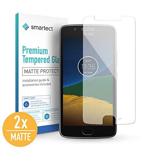 SmarTect [2X Mat Protector de Pantalla de Cristal Templado para Motorola Moto G5 Lámina Protectora Ultrafina de 0,3mm | Vidrio Robusto con Dureza 9H y Antihuellas Dactilares
