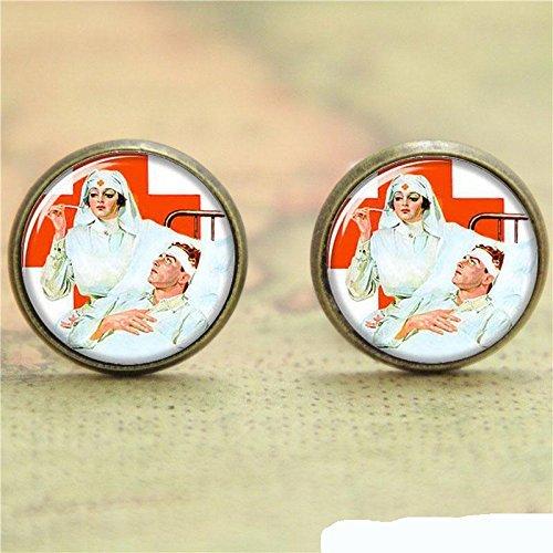 Ohrringe für Krankenschwester und Patientenglas, Vintage-Stil, handgefertigt, ()