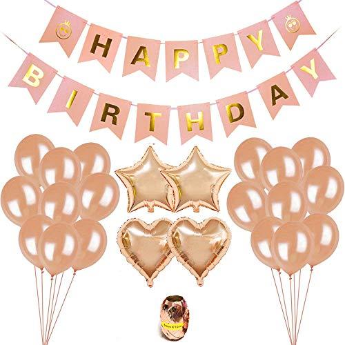 iZoeL Geburtstagsdeko Rose Gold, Happy Birthday Girlande, 16 Rosegold Luftballon, 4 Herz Stern Folienballon, Ballon String für Kinder 16 18 Mädchen Frauen Geburtstag Party