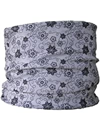 Multifunctional Headwear White with Black Flowers