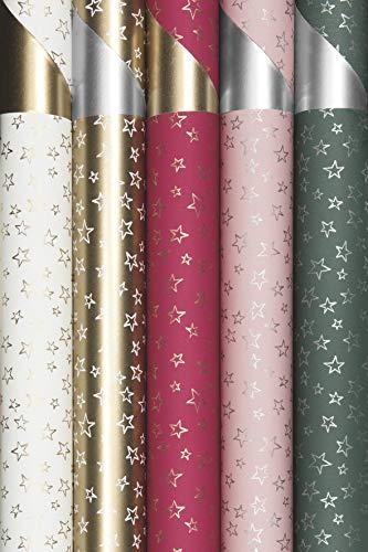 125890, 4 Rollen 500 x 70 cm STEWO Weihnachts Geschenkpapier mit Sternen, Stars UNLIMITED, extra Reissfest, höchste Qualität, Weihnachtsgeschenkpapier, Weihnachten Geschenkpapier