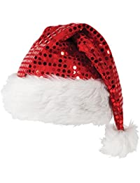 Red Sequin Christmas White Plush Trim Santa Fancy Dress Hat