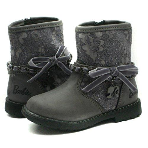 BA130 Barbie-Kids Warm Lined Baby Boots with side Zip and Chain Trim Mid Calf for Girls >      > Bébé Bottes filles mi-hauteur Warm Bordée de fermeture éclair latérale et de la chaîne garniture Grey (gris)