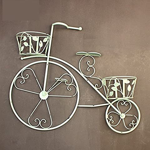 QFF Vintage Iron Bicycle Decoration Flower Frame Flower Basket Wall Wall Pendentif Balcon Flower Stand Pendentif Pendentif Multilayer ( Couleur : Vert clair )