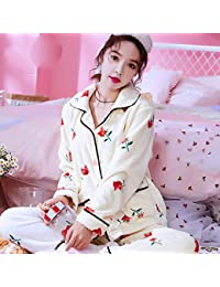90a30fafa3a ASY Women s Pyjama Set Pajamas Women Coral Fleece Long Sleeves Spring and  Autumn