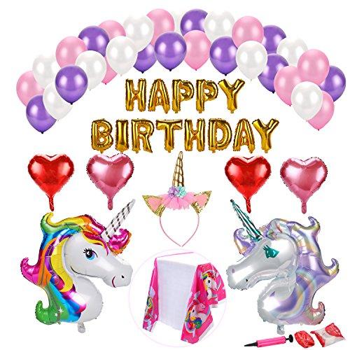 Konsait Unicornio globos de fiesta de cumpleaños Decoración Kit, Pancartas Happy Birthday globos, 4 Corazón, 30 globos de látex helio, 1 corona para niñas Unicornio Fiesta de Cumpleaños, 40pack