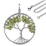 JOVIVI Edelstein Chakra-Anhänger Baum des Lebens Anhänger Pandent mit 56cm Kette,Lebensbaum Halskette für Damen Herren (Peridot)