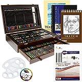 Us Art Supply Piece-Deluxe Peinture & Dessin Mega Bois Art Box 162 pièces Mega Bonus Set Noir